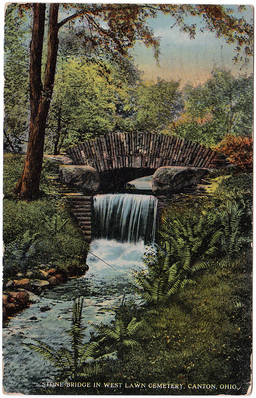 Stone Bridge in West Lawn Cemetery, Canton, Ohio (1916)