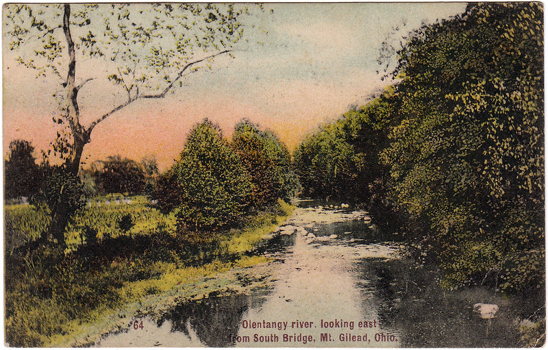 Olentangy River, Looking East from South Bridge, Mt. Gilead, Ohio (1909)