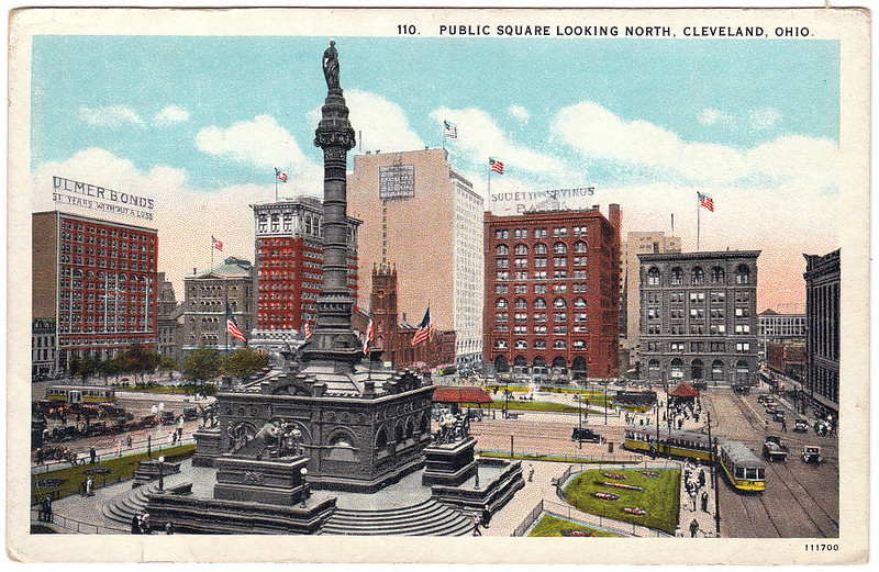 Public Square Looking North, Cleveland, Ohio (Date Unknown)