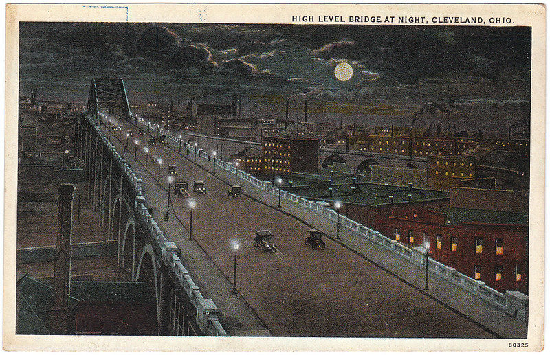 High Level Bridge at Night, Cleveland, Ohio (Date Unknown)