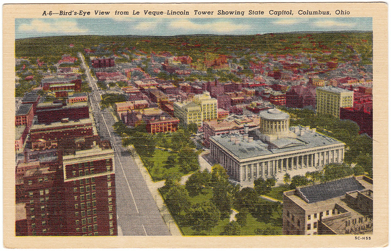 Bird's-Eye View from LeVeque-Lincoln Tower Showing State Capitol, Columbus, Ohio (Date Unknown)