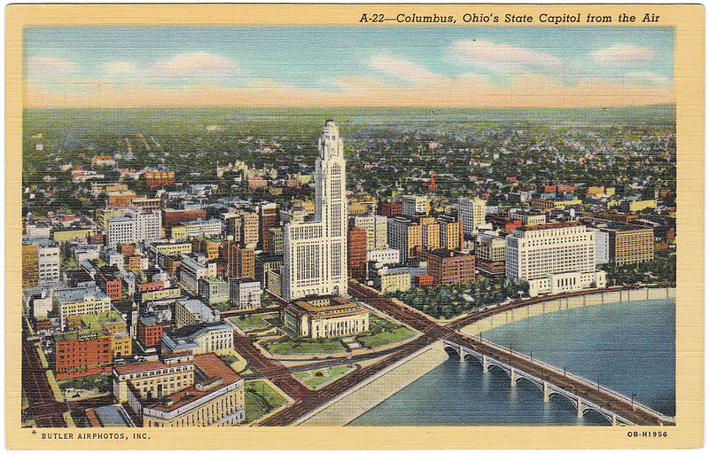 Columbus, Ohio's State Capitol from the Air, Columbus, Ohio (1945)