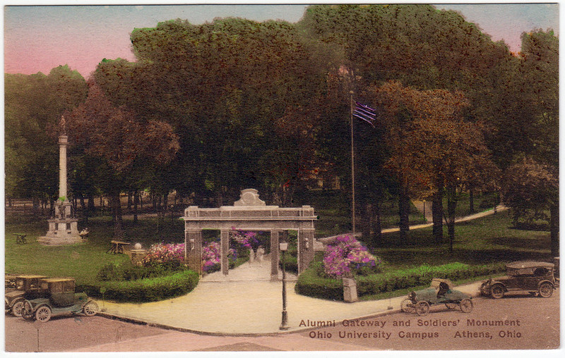 Alumni Gateway and Soldiers' Monument, Ohio University Campus, Athens, Ohio (Date Unknown)