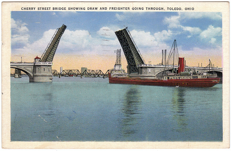 Cherry Street Bridge Showing Draw and Freighter Going Through, Toledo, Ohio (1936)