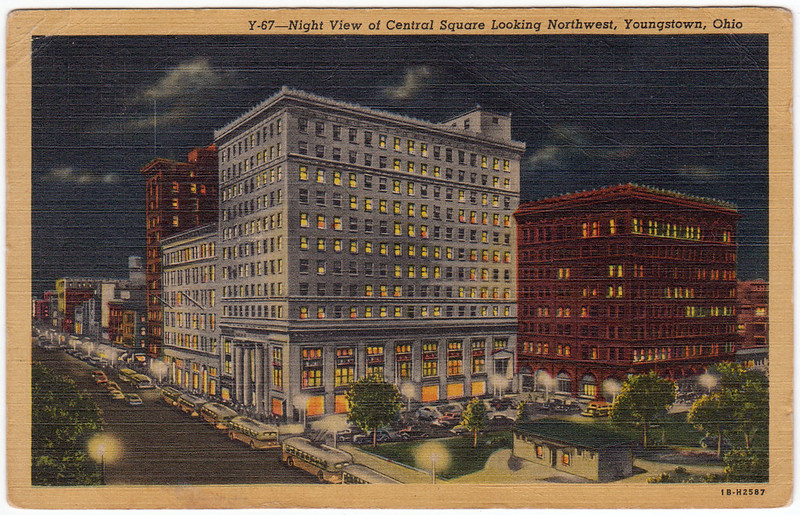 Night View of Central Square Looking Northwest, Youngstown, Ohio (1948)