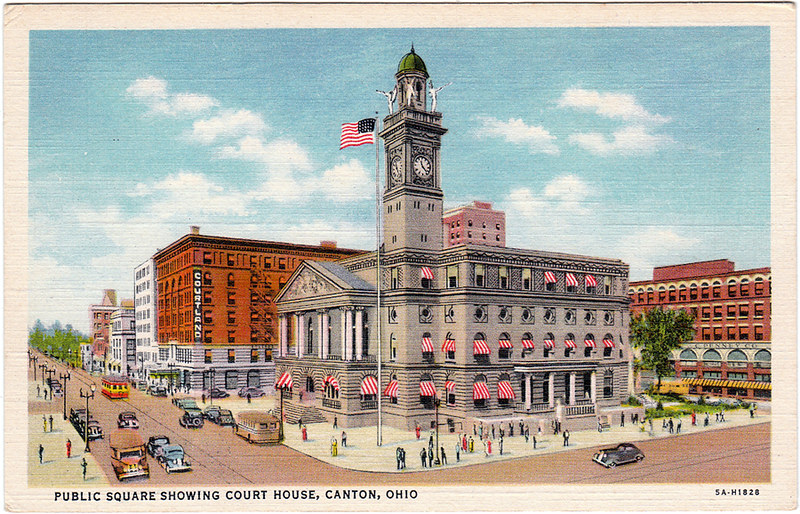 Public Square Showing Court House, Canton, Ohio (Date Unknown)