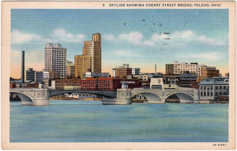 Skyline Showing Cherry Street Bridge, Toledo, Ohio (1936)
