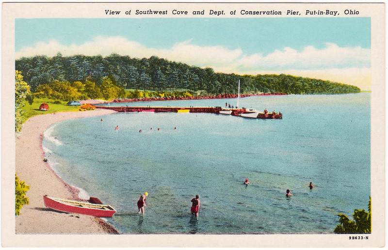 View of Southwest Cove and Dept. of Conservation Pier, Put-In-Bay, Ohio (Date Unknown)
