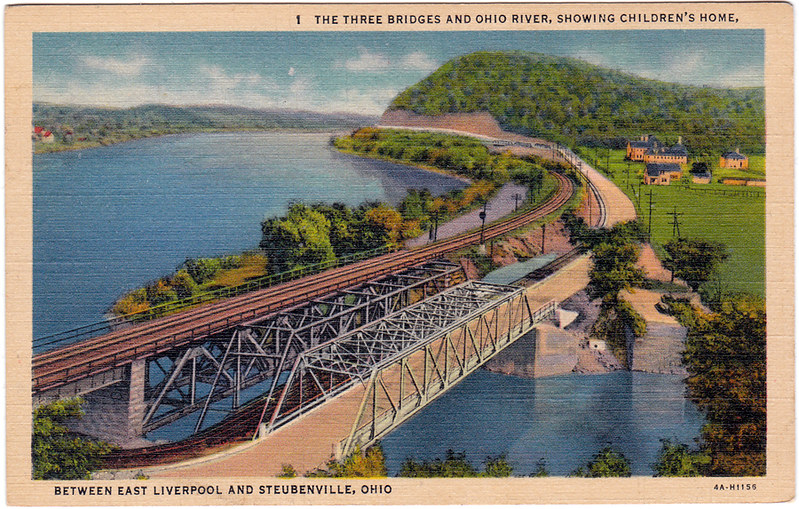 The Three Bridges and Ohio River, Showing Children's Home, Between East Liverpool and Steubenville, Ohio (Date Unknown)