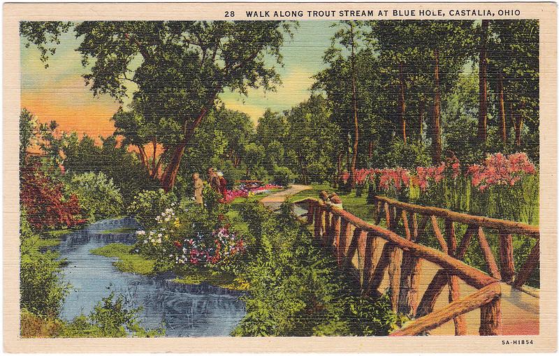 Walk Along Trout Stream at Blue Hole, Castalia, Ohio (Date Unknown)
