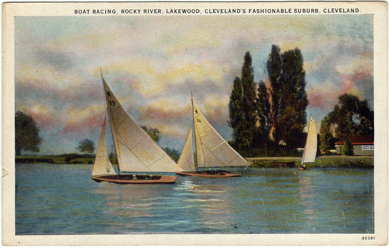 Boat Racing, Rocky River, Lakewood, Cleveland's Fashionable Suburb, Cleveland (Date Unknown)