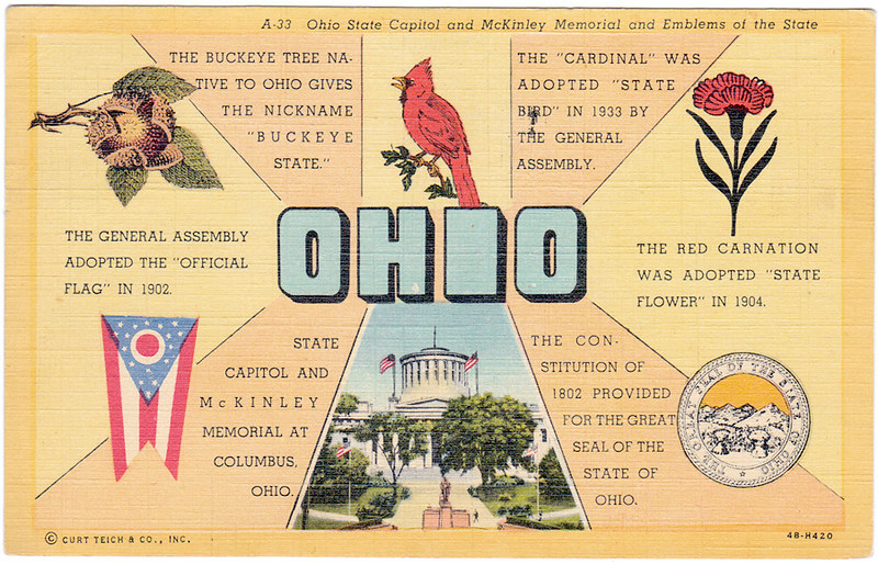 Ohio State Capitol and McKinley Memorial and Emblems of the State (1950)