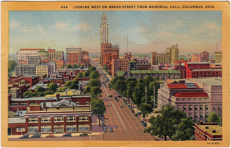 Looking West on Broad Street from Memorial Hall, Columbus, Ohio (1933)