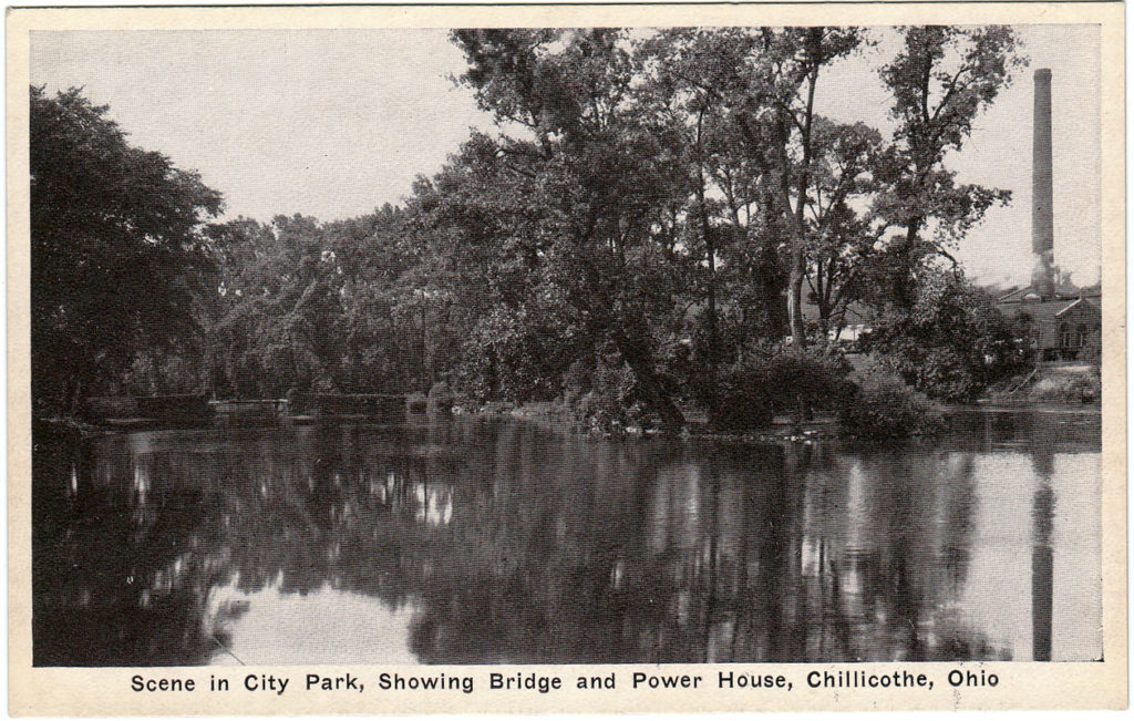 Scene in City Park, Showing Bridge and Power House, Chillicothe, Ohio (Date Unknown)