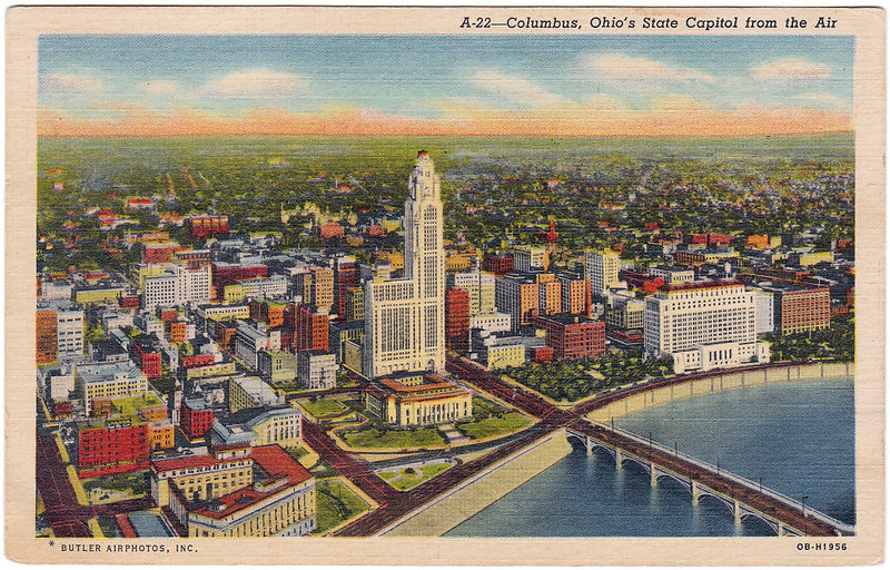 Columbus, Ohio's State Capitol from the Air (1957)