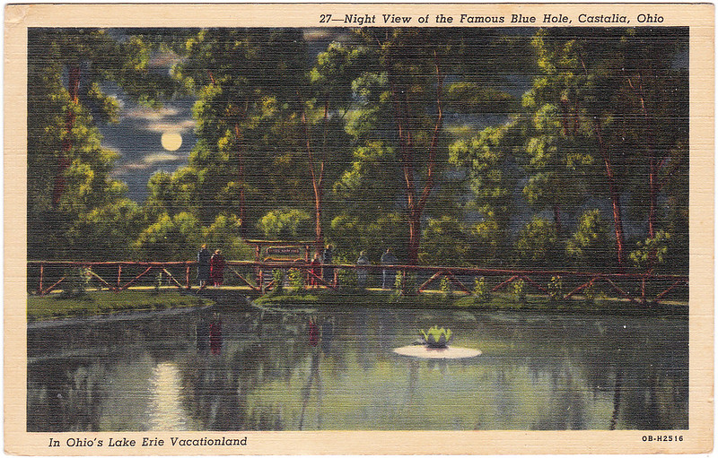 Night View of the Famous Blue Hole, Castalia, Ohio (Date Unknown)