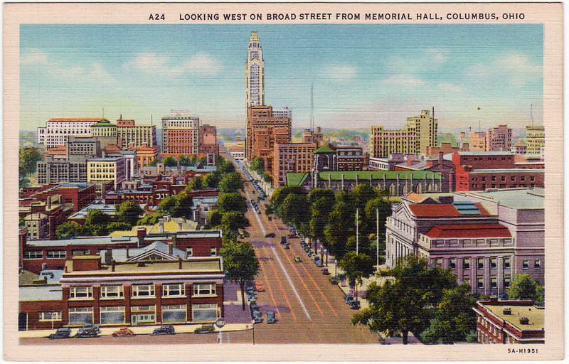Looking West on Broad Street from Memorial Hall, Columbus, Ohio (1930s)