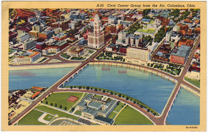 Civic Center Group from the Air, Columbus, Ohio (1930s)