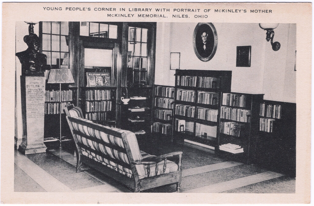 Young People's Corner in the Library with Portrait of McKinley's Mother, McKinley Memorial, Niles, Ohio (Date Unknown)