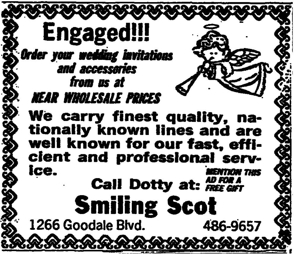 1984 Smiling Scot ad in the Columbus Dispatch selling wedding invitations.